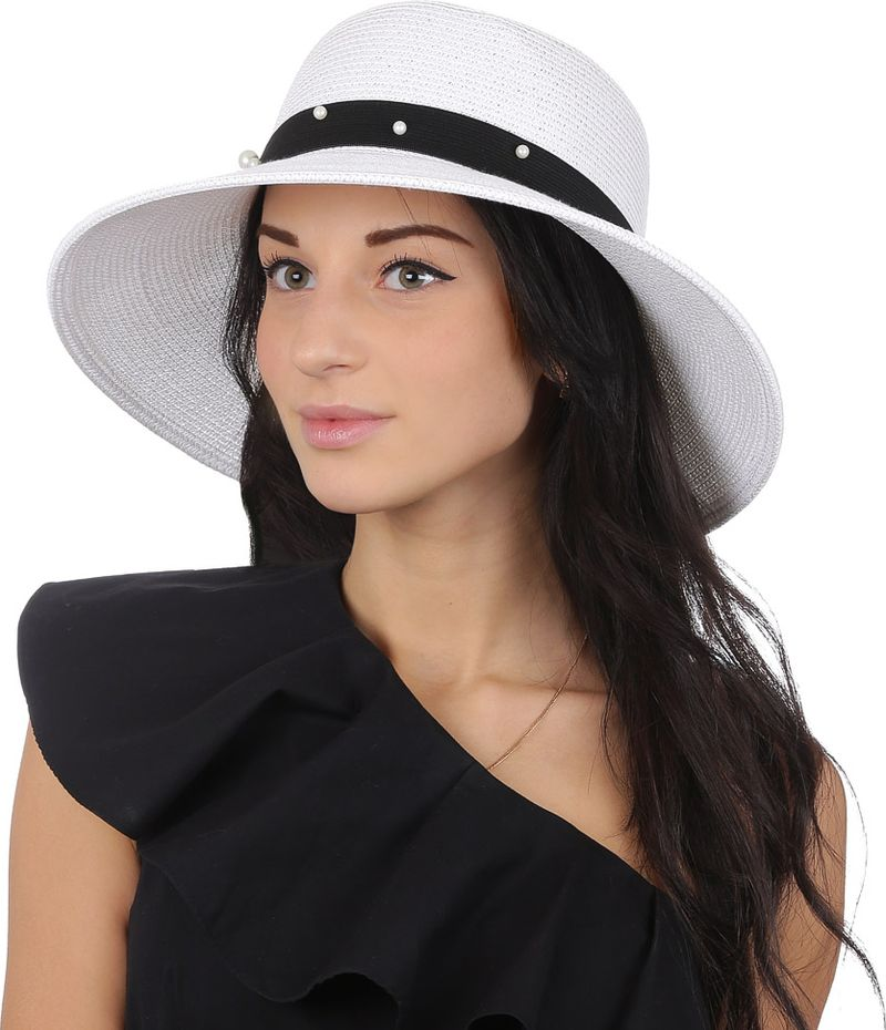Купить Соломенная шляпа женская Fabretti, цвет: белый. G51. Размер 56/59