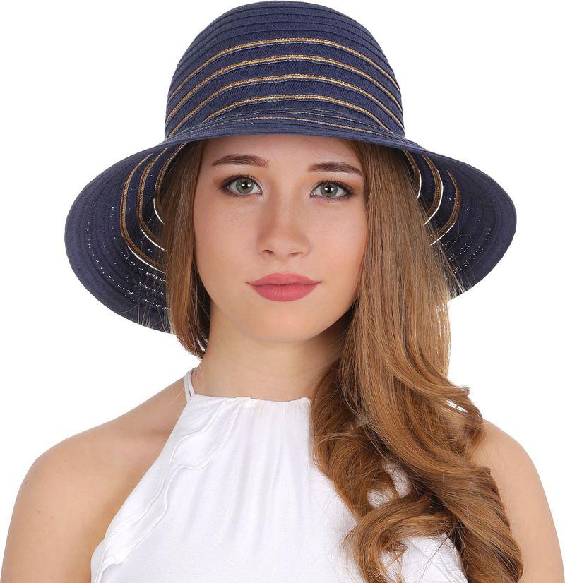 Купить Соломенная шляпа женская Fabretti, цвет: синий. G27. Размер 56/59