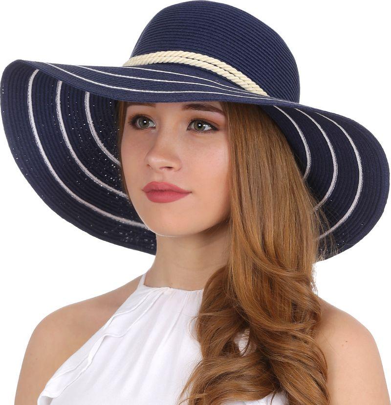 Купить Соломенная шляпа женская Fabretti, цвет: синий. G28. Размер 56/59