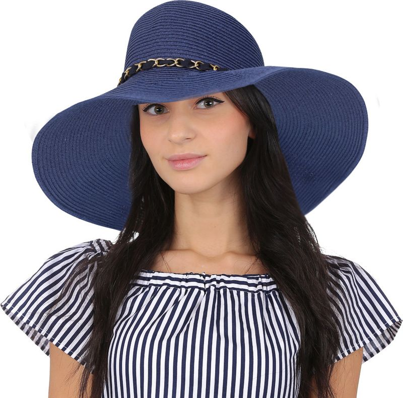 Купить Соломенная шляпа женская Fabretti, цвет: синий. G3. Размер 56/59