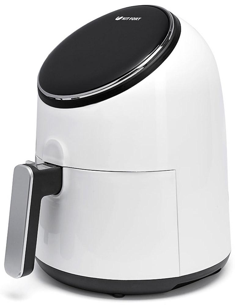 Kitfort КТ-2206 аэрогрильКТ-2206Современный аэрогриль Kitfort KT-2206 замечателен не только стильным дизайном и компактным размером. Онможет использоваться как аэрогриль, а также как аэрофритюрница и духовка и позволяет готовить большинствопродуктов без добавления масла. При помощи системы циркуляции горячего воздуха продукты равномернообжариваются со всех сторон и получаются нежными внутри и с хрустящей корочкой снаружи.Аэрогриль оснащен электронным управлением, он имеет 8 автоматических программ и дисплей. Продуктыготовятся в специальной корзине, которая вставлена в поддон с антипригарным покрытием. По окончанииприготовления аэрогриль автоматически отключается. Поддон с корзиной легко вынимаются и моются.Блюда готовятся без маслаРавномерный нагрев 8 автоматических программ Поддон и корзина с антипригарным покрытием Защита кнопки фиксатора поддона от случайного нажатия Достижение максимальной температуры за 3 минуты Легкая очистка Звуковой сигнал о завершении приготовления