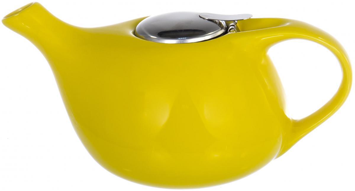 Чайник заварочный Elrington Глазурь, с фильтром, цвет: желтый, 1,3 лFJH-10037-A125ГЛАЗУРЬ. Желтый, ЧАЙНИКИ, чайник 13000мл с фильтром, упаковка - цвет.короб