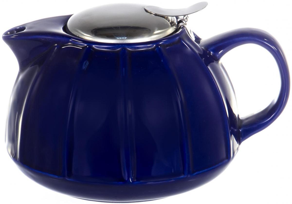 Чайник заварочный Elrington Глазурь, с фильтром, цвет: синий, 950 млFJH-10173-A18ГЛАЗУРЬ. Синий, ЧАЙНИКИ, чайник 950мл с метал.фильтром, подарочная упаковка