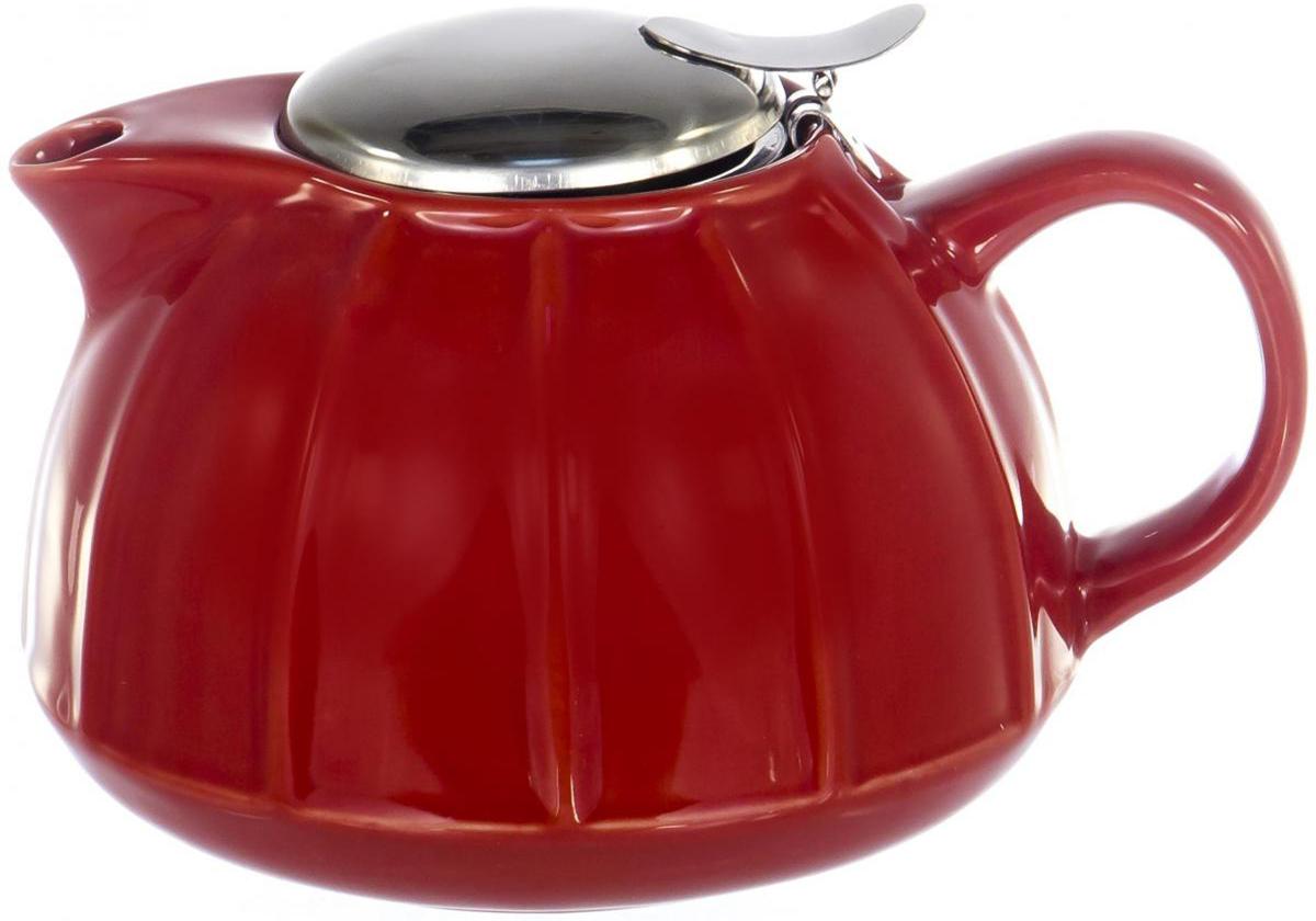 Чайник заварочный Elrington Глазурь, с фильтром, цвет: красный, 950 мл gipfel чайник с фильтром сеткой 800 мл красный