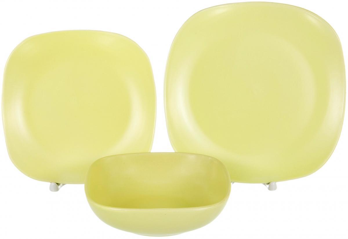 Набор столовой посуды Elrington Сок. Лимон, 18 предметовHJC-1201-18PСОК. Лимон, набор столовый (18) 6 мелк.тарелок 220мм + 6 мелк.тарелок 190мм + 6 салатников 600мл, форма - квадрат закругленный, упаковка - цвет.бокс