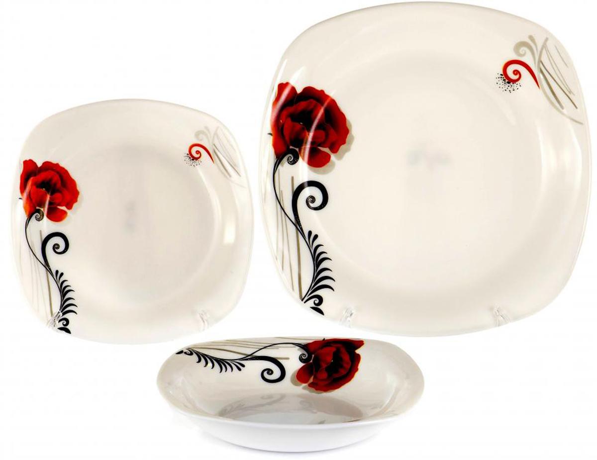 """Набор тарелок Olaff """"Мак"""" выполнен из высококачественной стеклокерамики.  В набор входят: 6 мелких тарелок (190 мм), 6 глубоких тарелок (200 мм), 6 мелких тарелок (240 мм).        Форма тарелок: закругленный квадрат.   Набор упакован в красочную, подарочную упаковку."""