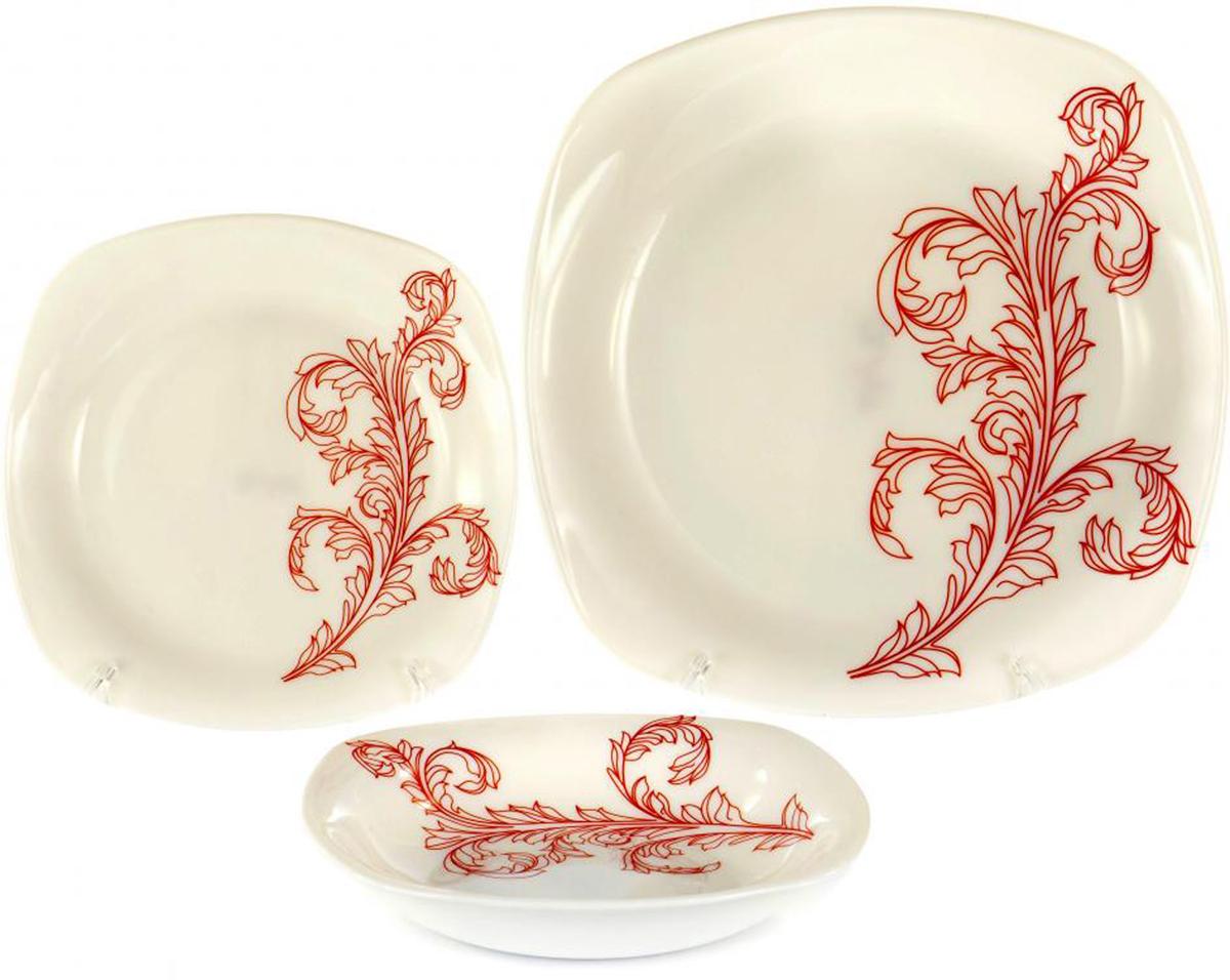 Набор столовой посуды Olaff Красный стебель, 18 предметовJY-S-18-10КРАСНЫЙ СТЕБЕЛЬ, набор (18) 6 мелк.тарелок 190мм + 6 глуб.тарелок 200мм + 6 мелк.тарелок 240мм, форма - квадрат, упаковка - цвет.бокс