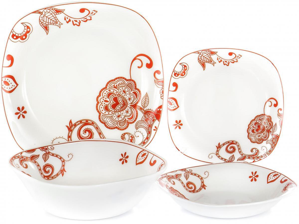 """Набор столовой посуды Olaff """"Красные цветы"""" выполнен из высококачественной стеклокерамики.  В набор входят: 6 мелких тарелок (190 мм), 6 глубоких тарелок (200 мм), 6 мелких тарелок (240 мм), салатник (1200 мл).     Форма предметов - закругленный квадрат.         Набор упакован в красочную, подарочную упаковку."""