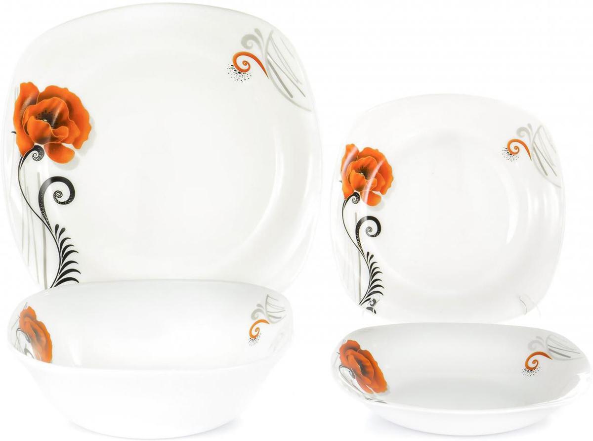 Набор столовой посуды Olaff Мак, 19 предметовJY-S-19-07Набор столовой посуды Olaff Мак выполнен из высококачественной стеклокерамики.В набор входят: 6 мелких тарелок (190 мм), 6 глубоких тарелок (200 мм), 6 мелких тарелок (240 мм), салатник (1200 мл). Форма предметов - закругленный квадрат. Набор упакован в красочную, подарочную упаковку.