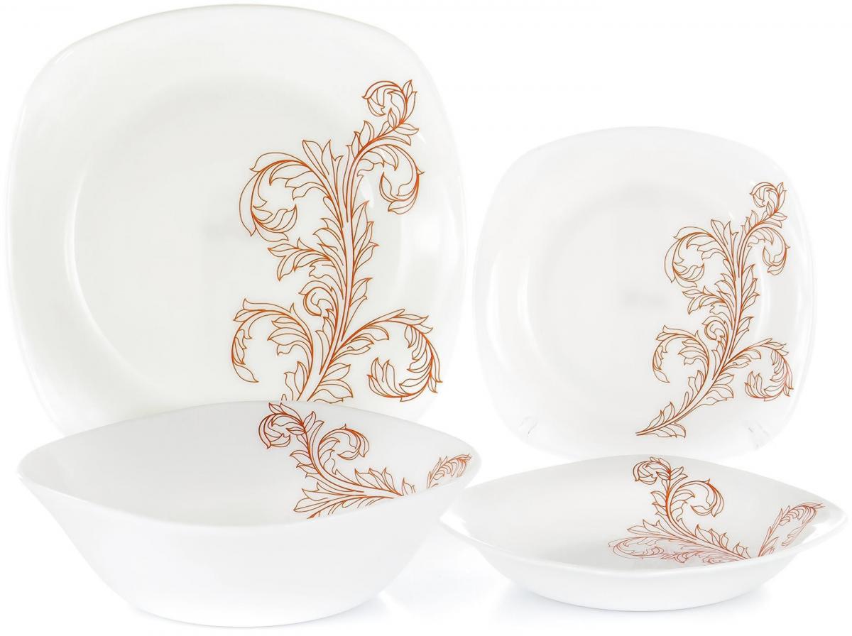 """Набор столовой посуды Olaff """"Красный стебель"""" выполнен из высококачественной стеклокерамики.  В набор входят: 6 мелких тарелок (190 мм), 6 глубоких тарелок (200 мм), 6 мелких тарелок (240 мм), салатник (1200 мл).     Форма предметов - закругленный квадрат.         Набор упакован в красочную, подарочную упаковку."""