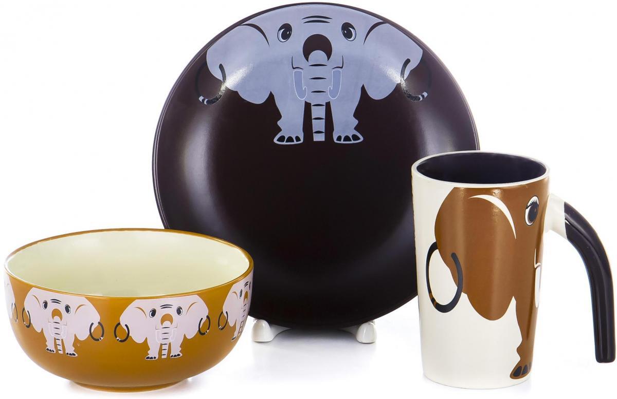 """Набор детской посуды для завтрака Elrington """"Веселые ребята"""", выполненный из высококачественной керамики, декорирован красочным рисунком.  Такой набор обязательно понравится вашему ребенку, потому что теперь у него будет своя собственная посуда.   Набор посуды для детей включает в себя три предмета:      - тарелка (диаметр - 190 мм);     - салатник (диаметр - 135 мм);    - кружка (280 мл).    Набор упакован в красочную, подарочную упаковку."""