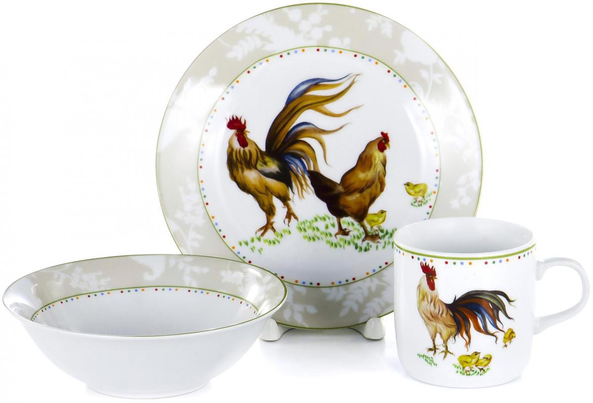 """Набор детской посуды для завтрака Olaff """"Children"""", выполненный из фарфора, декорирован красочным рисунком.  Такой набор обязательно понравится вашему ребенку, потому что теперь у него будет своя собственная посуда.   Набор посуды для детей включает в себя три предмета:     - тарелка (диаметр - 190 мм);   - салатник (500 мл);    - кружка (230 мл).    Набор упакован в красочную, подарочную упаковку."""