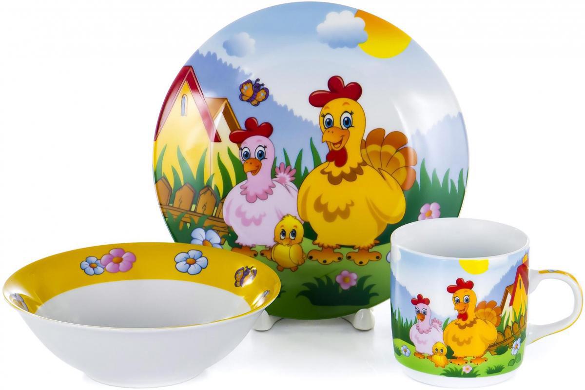 Набор для завтрака Olaff Children, 3 предмета. LX-3PCS-C436LX-3PCS-C436CHILDREN, набор посуды (3) тарелка мелк.190мм + салатник 500мл + кружка 230мл, упаковка - цвет.бокс