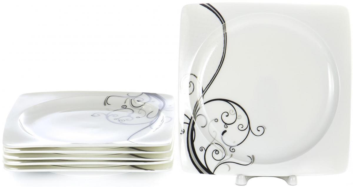 """Набор Olaff """"Белый квадрат"""", состоящий из шести тарелок, выполнен из  высококачественного фарфора.   Изделия имеют оригинальный дизайн.   Посуда  отличается прочностью, гигиеничностью и долгим сроком службы, она устойчива к появлению царапин и резким перепадам температур.                Набор в красивой упаковке станет отличным подарком для родных и близких."""