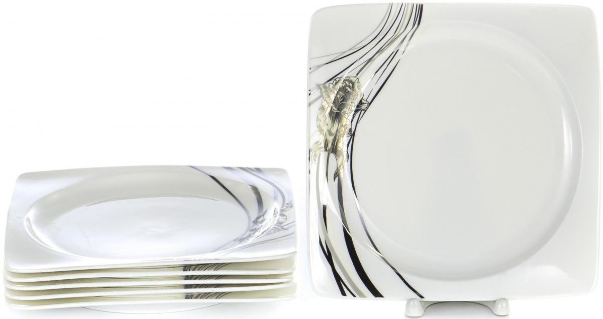 Набор столовой посуды Olaff Белый квадрат, 6 предметов. SC-75P6CB-002SC-75P6CB-002БЕЛЫЙ КВАДРАТ. Роза, набор (6) 6 мелк.тарелок 190мм, NEW BONE CHINA, упаковка - цвет.бокс