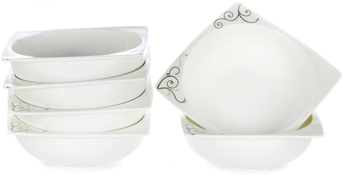 Набор столовой посуды Olaff Белый квадрат, 6 предметов. SC-7B6CB-001SC-7B6CB-001БЕЛЫЙ КВАДРАТ. Узоры, набор (6) 6 салатников 600мл, NEW BONE CHINA, упаковка - цвет.бокс