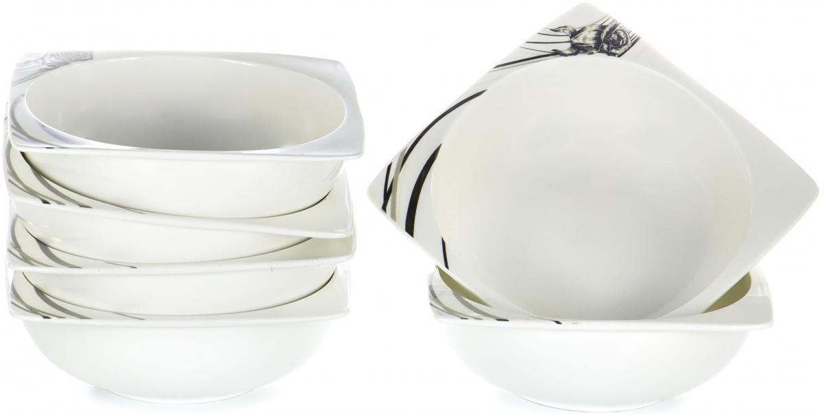 """Набор Olaff """"Белый квадрат"""", состоящий из шести салатников, выполнен из высококачественного фарфора.   Изделия имеют оригинальный дизайн.   Посуда отличается прочностью, гигиеничностью и долгим сроком службы, она устойчива к появлению царапин и резким перепадам температур.                Набор в красивой упаковке станет отличным подарком для родных и близких.      Объем салатников: 600 мл."""