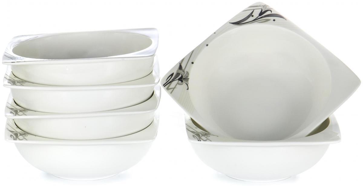 Набор столовой посуды Olaff Белый квадрат, 6 предметов. SC-7B6CB-003SC-7B6CB-003БЕЛЫЙ КВАДРАТ. Лилия, набор (6) 6 салатников 600мл, NEW BONE CHINA, упаковка - цвет.бокс