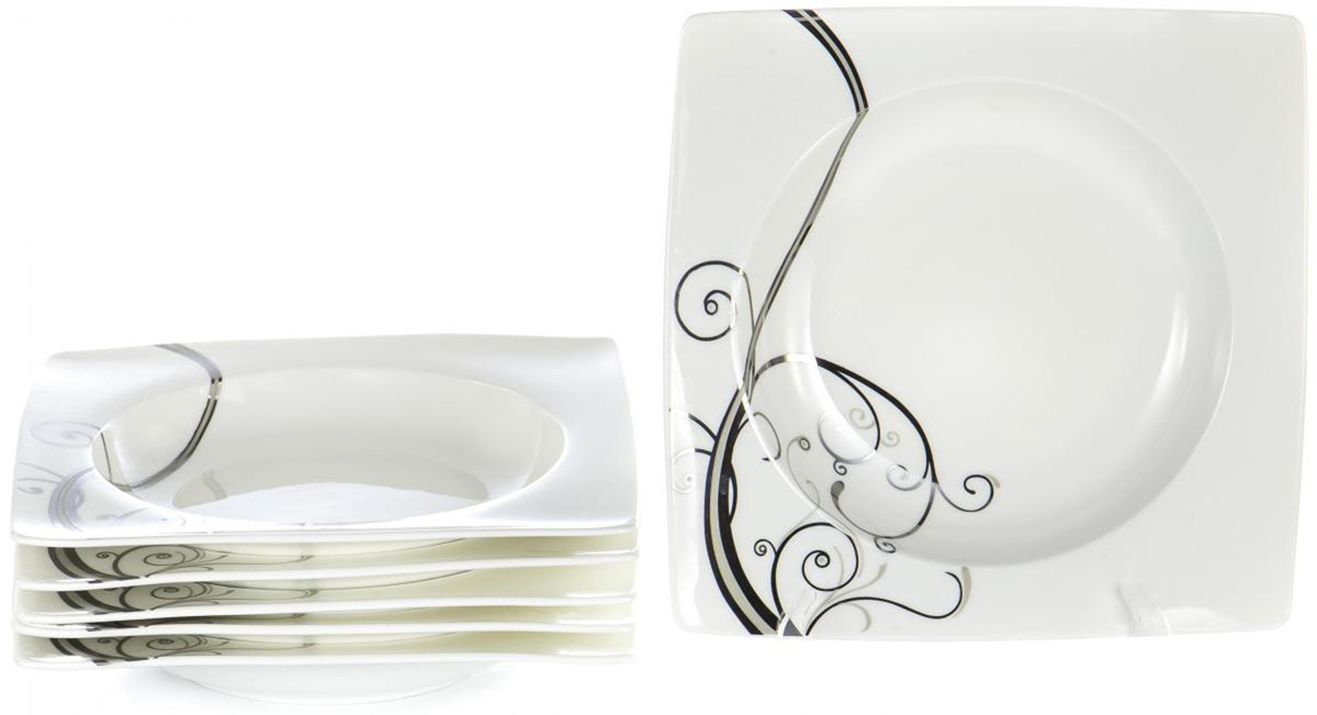 """Набор Olaff """"Белый квадрат"""", состоящий из шести глубоких тарелок, выполнен из высококачественного фарфора.   Изделия имеют оригинальный дизайн.   Посуда отличается прочностью, гигиеничностью и долгим сроком службы, она устойчива к появлению царапин и резким перепадам температур.                Набор в красивой упаковке станет отличным подарком для родных и близких."""