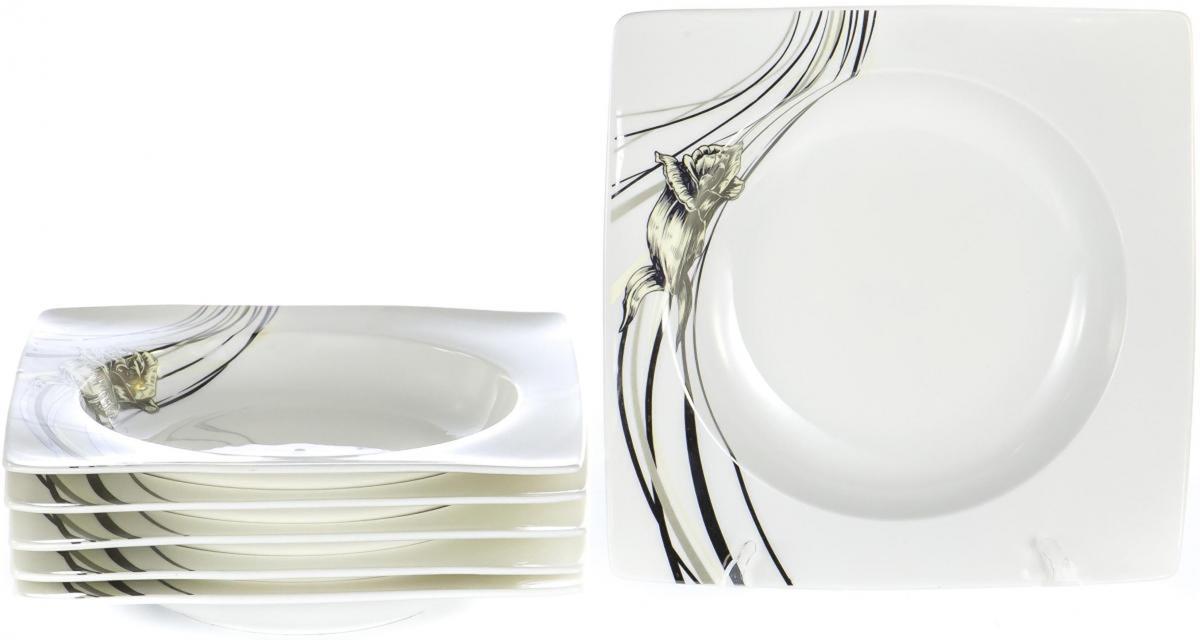 Набор столовой посуды Olaff Белый квадрат, 6 предметов. SC-8P6CB-002SC-8P6CB-002БЕЛЫЙ КВАДРАТ. Роза, набор (6) 6 глуб.тарелок 200мм, NEW BONE CHINA, упаковка - цвет.бокс