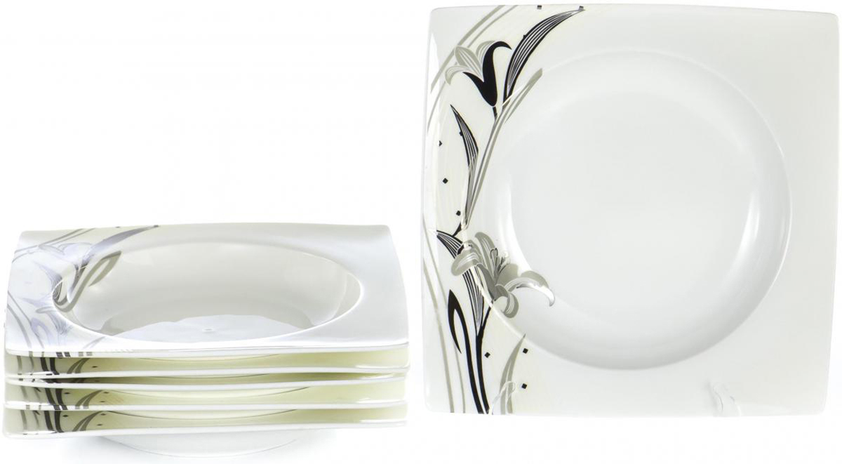 Набор столовой посуды Olaff Белый квадрат, 6 предметов. SC-8P6CB-003SC-8P6CB-003БЕЛЫЙ КВАДРАТ. Лилия, набор (6) 6 глуб.тарелок 200мм, NEW BONE CHINA, упаковка - цвет.бокс