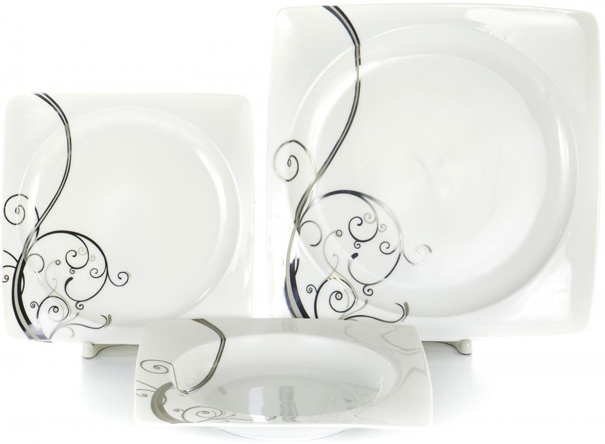 Набор тарелок Olaff Белый квадрат, 18 шт. SC-DN18CB-001SC-DN18CB-001Набор тарелок Olaff Белый квадрат выполнен из фарфора.В набор входят: 6 мелких тарелок (190 мм), 6 глубоких тарелок (200 мм), 6 мелких тарелок (260 мм).Форма тарелок: квадрат. Набор упакован в красочную, подарочную упаковку.