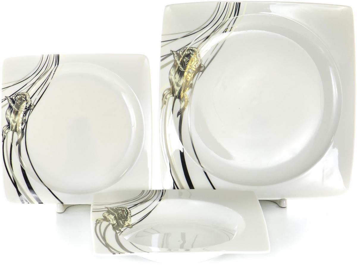 Набор столовой посуды Olaff Белый квадрат, 18 предметов. SC-DN18CB-002SC-DN18CB-002БЕЛЫЙ КВАДРАТ. Роза, набор (18) 6 мелк.тарелок 190мм + 6 глуб.тарелок 200мм + 6 мелк.тарелок 260мм,форма - квадрат, NEW BONE CHINA, упаковка - цветная подарочная
