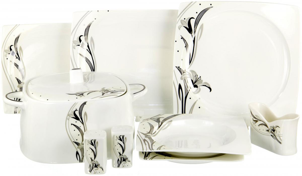 """Набор столовой посуды Olaff """"Белый квадрат"""" выполнен из фарфора.  В набор входят: 6 мелких тарелок (190 мм), 6 глубоких тарелок (200 мм), 6 мелких тарелок (260 мм), 2 блюда (300 мм), 1 блюдо (350 мм), супница, солонка, перечница, салфетница.        Форма тарелок: квадрат.   Набор упакован в красочную, подарочную упаковку."""