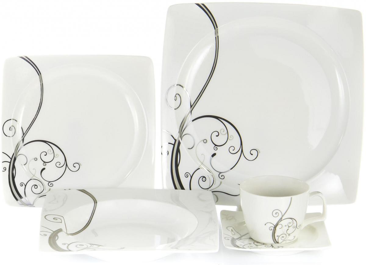 Набор столовой посуды Olaff Белый квадрат, 30 предметов. SC-DN30CB-001 набор барабанных тарелок zultan aja fusion funk bundle