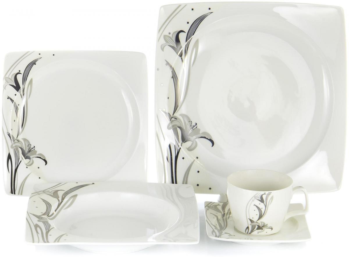 Набор столовой посуды Olaff Белый квадрат, 30 предметов. SC-DN30CB-003 набор фокусника маленький маг для демонстрации 200 фокусов mlm1702 003