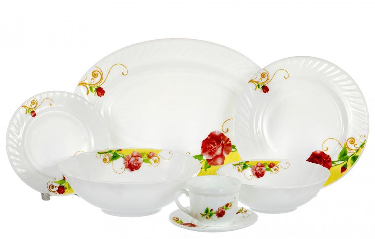 Набор столовой посуды Olaff Одинокая роза, 32 предметаSJ-32-0213Набор столовой посуды Olaff Одинокая роза выполнен из высококачественной стеклокерамики.В набор входят: 6 мелких тарелок (диаметр - 180 мм), 6 мелких тарелок (диаметр - 220 мм), 6 салатников (объем - 600 мл), 1 салатник (объем - 1200 мл), 1 овальное блюдо (356 мм), 6 чашек (190 мл) и 6 блюдец.Набор упакован в красочную, подарочную упаковку.