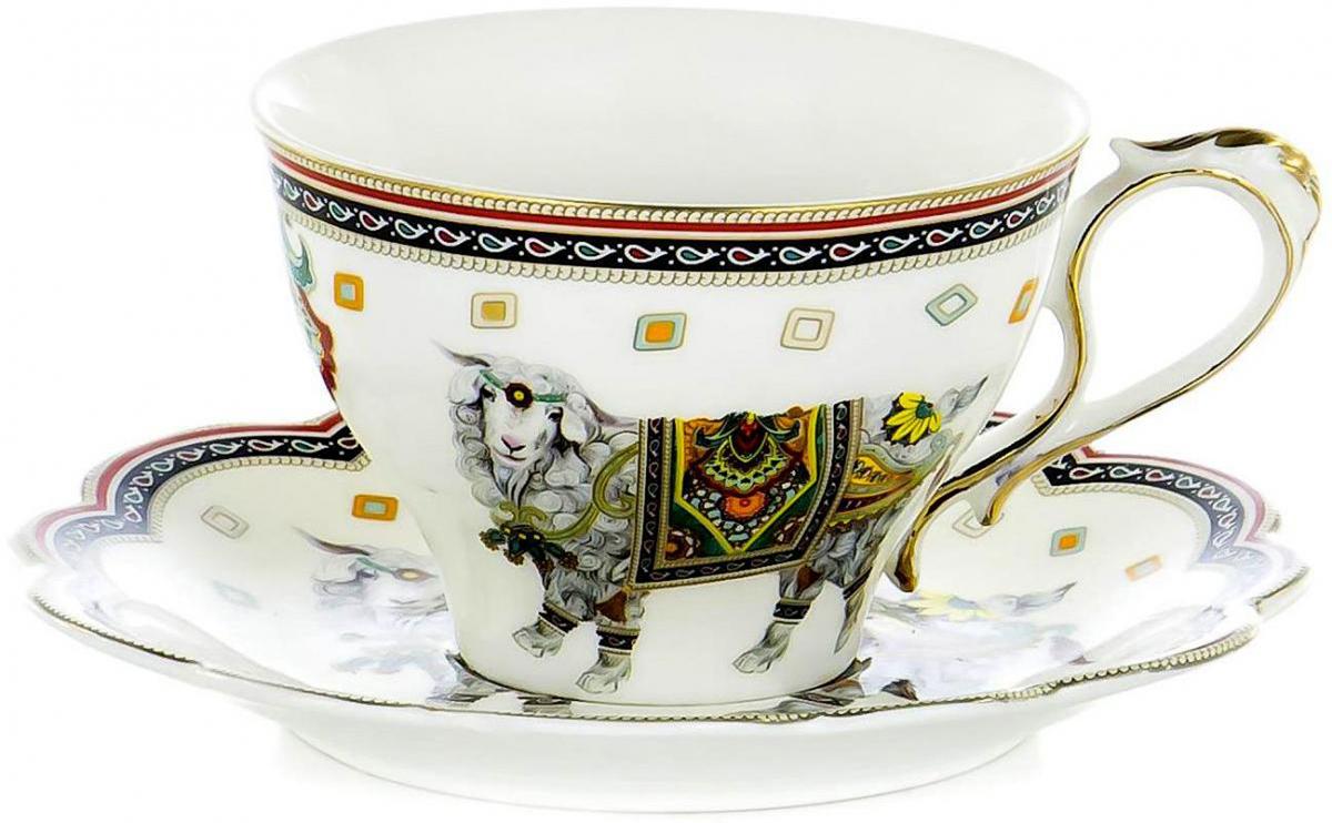 Чайная пара Olaff, 2 предмета. XXY-BHE-F4538XXY-BHE-F4538SQUARE GIFT BOX, набор чайный (2) чашка с блюдцем 300мл, JADE PORCELAIN, подарочная упаковка с крышкой пвс