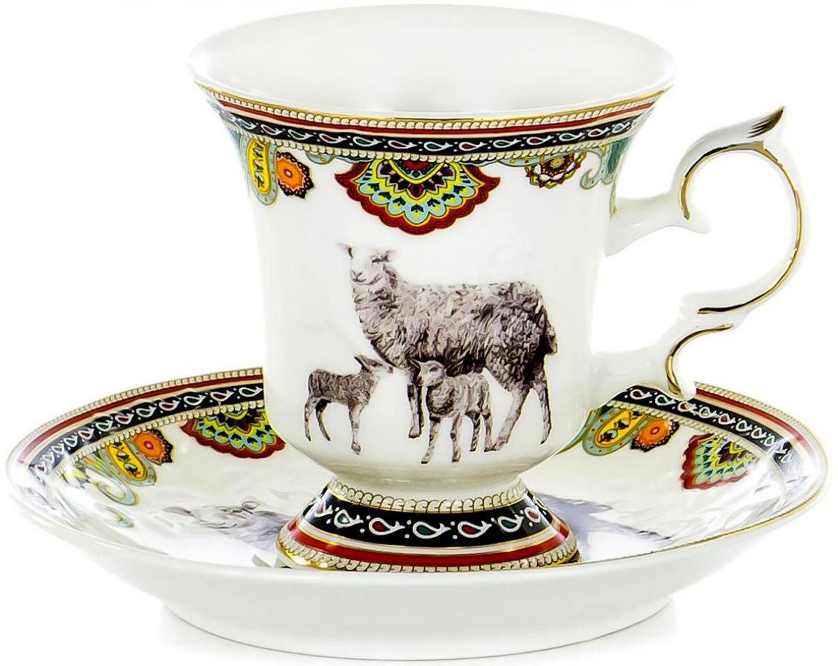 """Чайная пара """"Olaff"""" состоит из чашки и блюдца. Набор изготовлен из высококачественного фарфора и оформлен стильным рисунком. Такой набор подходит для подачи чая. Изящный дизайн придется по вкусу и ценителям классики, и тем, кто предпочитает утонченность и изысканность. Он настроит на позитивный лад и подарит хорошее настроение с самого утра. Чайный набор"""