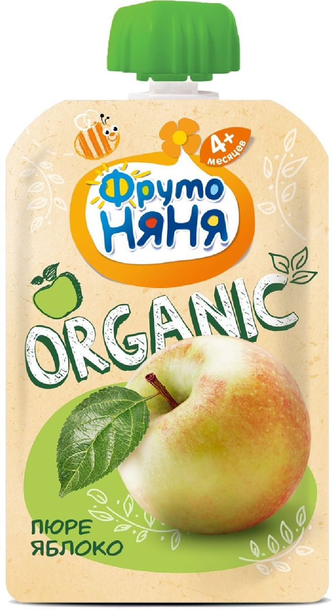 Фрутоняня Organic пюре яблоко с 6 месяцев, 90 г фрутоняня пюре десерт из манго апельсина яблока и банана с 7 месяцев 90 г