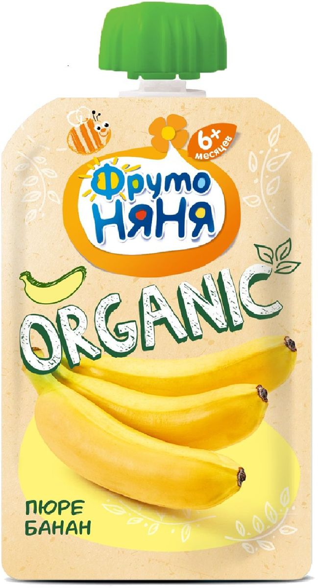 Фрутоняня Organic пюре банан с 6 месяцев, 90 г фрутоняня пюре десерт из манго апельсина яблока и банана с 7 месяцев 90 г