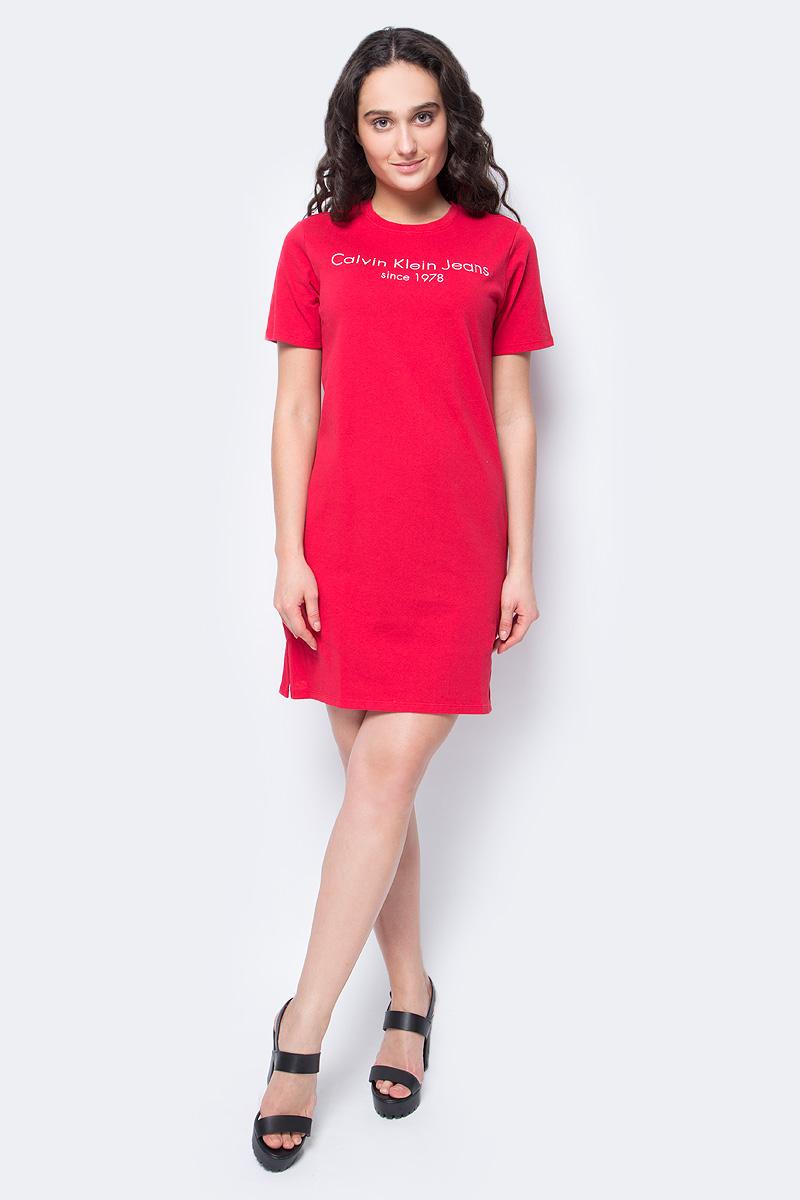 Платье Calvin Klein Jeans, цвет: красный. J20J207010_6950. Размер XS (40/42) куртка мужская calvin klein jeans цвет синий j30j305551 4020 размер xxl 52 54