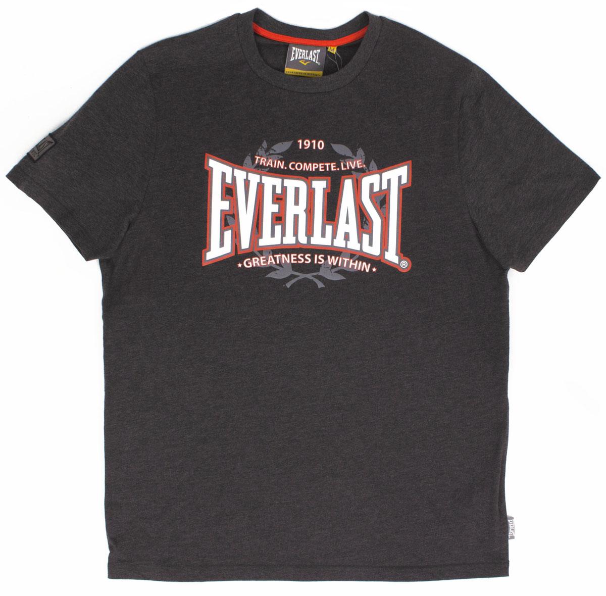 Футболка мужская Everlast Heritage, цвет: серый. EVR6520. Размер S (46/48)EVR6520Симпатичная мужская футболка Everlast выполнена из высококачественного материала, обеспечит вам комфорт при носке.Футболка прямого кроя с круглым вырезом горловины и короткими рукавами оформлена принтовой надписью. Эта замечательная футболка отлично подойдет для тренировок и повседневного ношения.