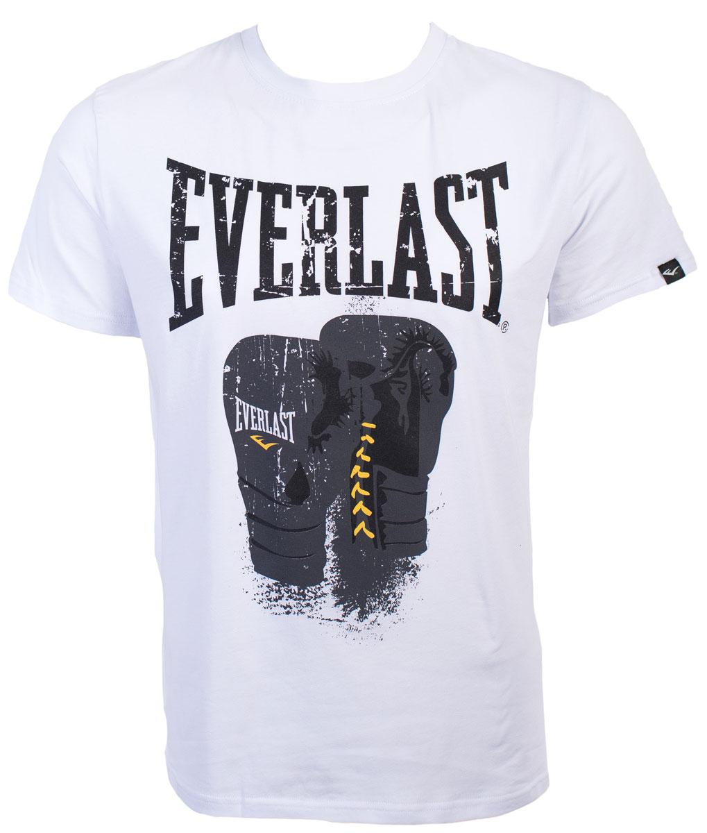 Футболка мужская Everlast Logo Protex Gloves, цвет: белый. RE0041. Размер M (48/50)RE0041Симпатичная мужская футболка Everlast выполнена из высококачественного материала, обеспечит вам комфорт при носке.Футболка прямого кроя с круглым вырезом горловины и короткими рукавами оформлена принтовой надписью и изображением боксерских перчаток. Эта замечательная футболка отлично подойдет для тренировок и повседневного ношения.