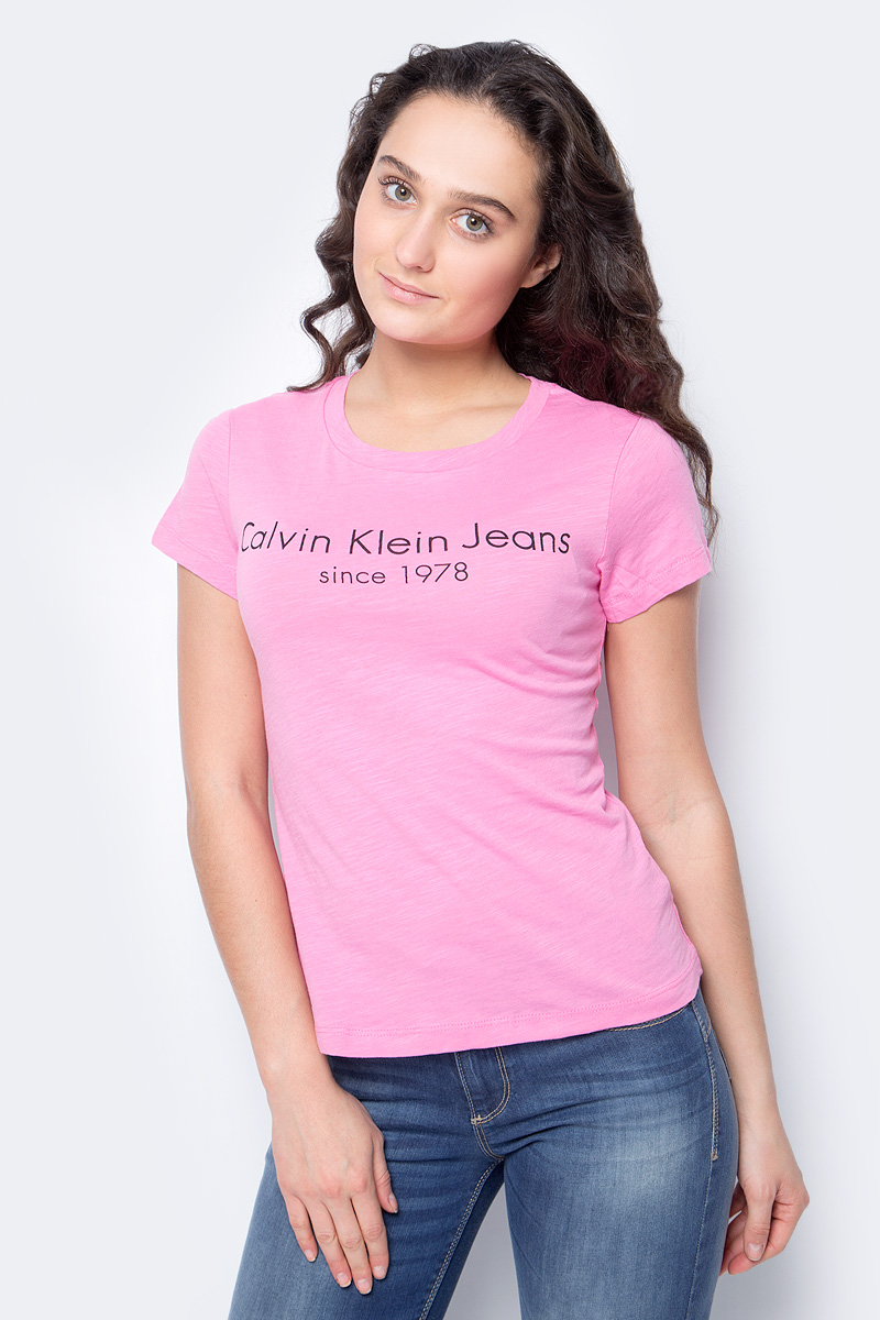 Футболка женская Calvin Klein Jeans, цвет: розовый. J20J208341_6940. Размер S (42/44) 2015 new hot sale fashion luxury high quality men s brand jeans trousers classic casual scratch denim jeans plus size 28 46