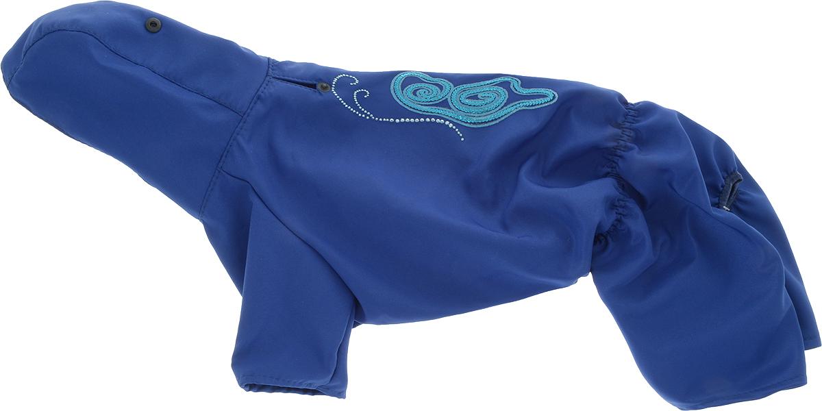 Дождевик прогулочный для собак GLG Завитки, цвет: темно-синий. Размер L дождевик для собак