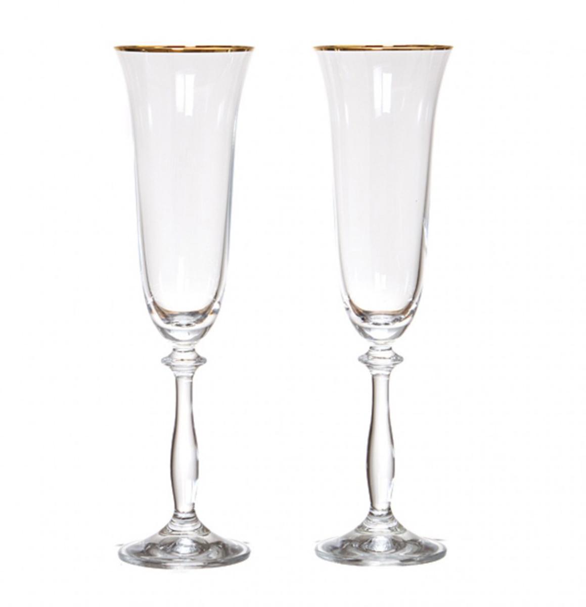 Набор бокалов для шампанского Bohemia Crystal Анжела, 190 мл, 2 шт. 40600/20787/190/240600/20787/190/2Бокалы для шампанского Bohemia Crystal коллекции Анжела порадуют не только вас, но и ваших гостей. Они обладают привлекательным внешним видом, а материалом их изготовления является высококачественное хрустальное стекло. Кроме того, красоту и форму посуды подчеркивают прозрачные ножки, чаша бокала украшена золотой каймой. Объем бокала 190 мл. Количество в упаковке 2 шт.