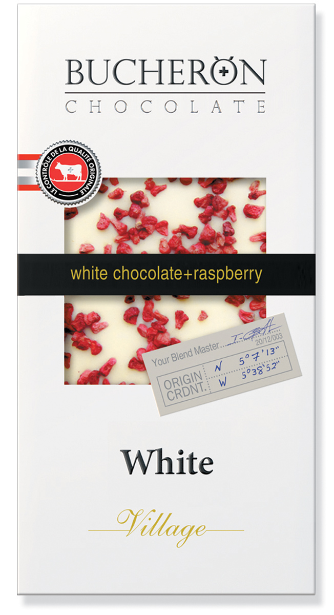 Bucheron белый шоколад с кусочками малины в картоне, 100 г weider 32% protein bar белый шоколад 60г