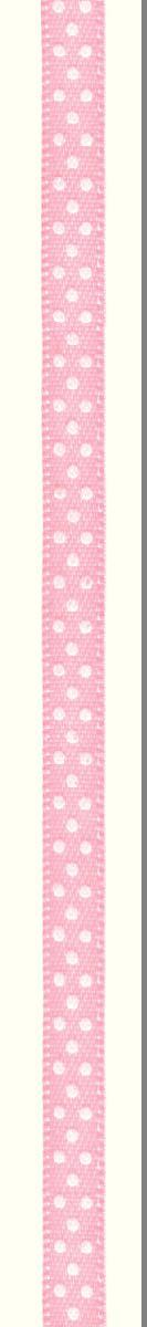 Лента атласная Prym Горошек, цвет: белый, светло-розовый, 6 мм, 4 м лента эластичная prym цвет черный ширина 30 мм длина 1 м