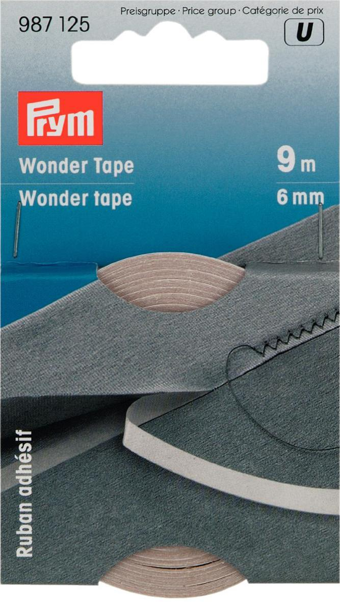 Лента самоклеющаяся Prym, двухсторонняя, цвет: прозрачный, 6 мм, 9 м лента эластичная prym стандартная цвет белый ширина 2 см длина 25 м