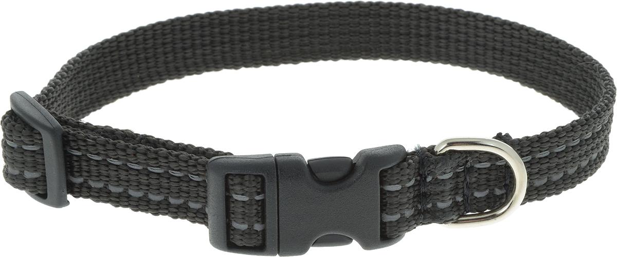 Ошейник Аркон Капрон, цвет: черный, ширина 1,5 см, длина 24-38 смок15_черныйОшейник Аркон Капрон, цвет: черный, ширина 1,5 см, длина 24-38 см