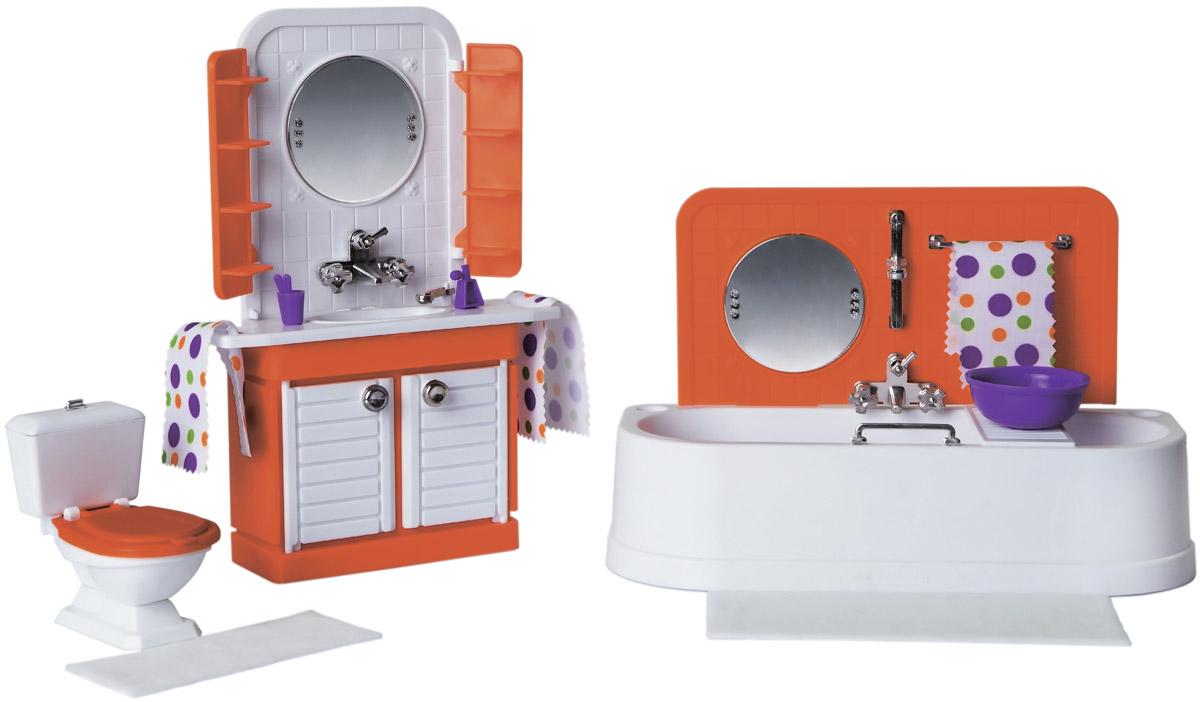 Sima-land Мебель для кукол Ванная комната Конфетти цвет белый оранжевый sima land мебель для кукол гостиная 11 предметов 730418
