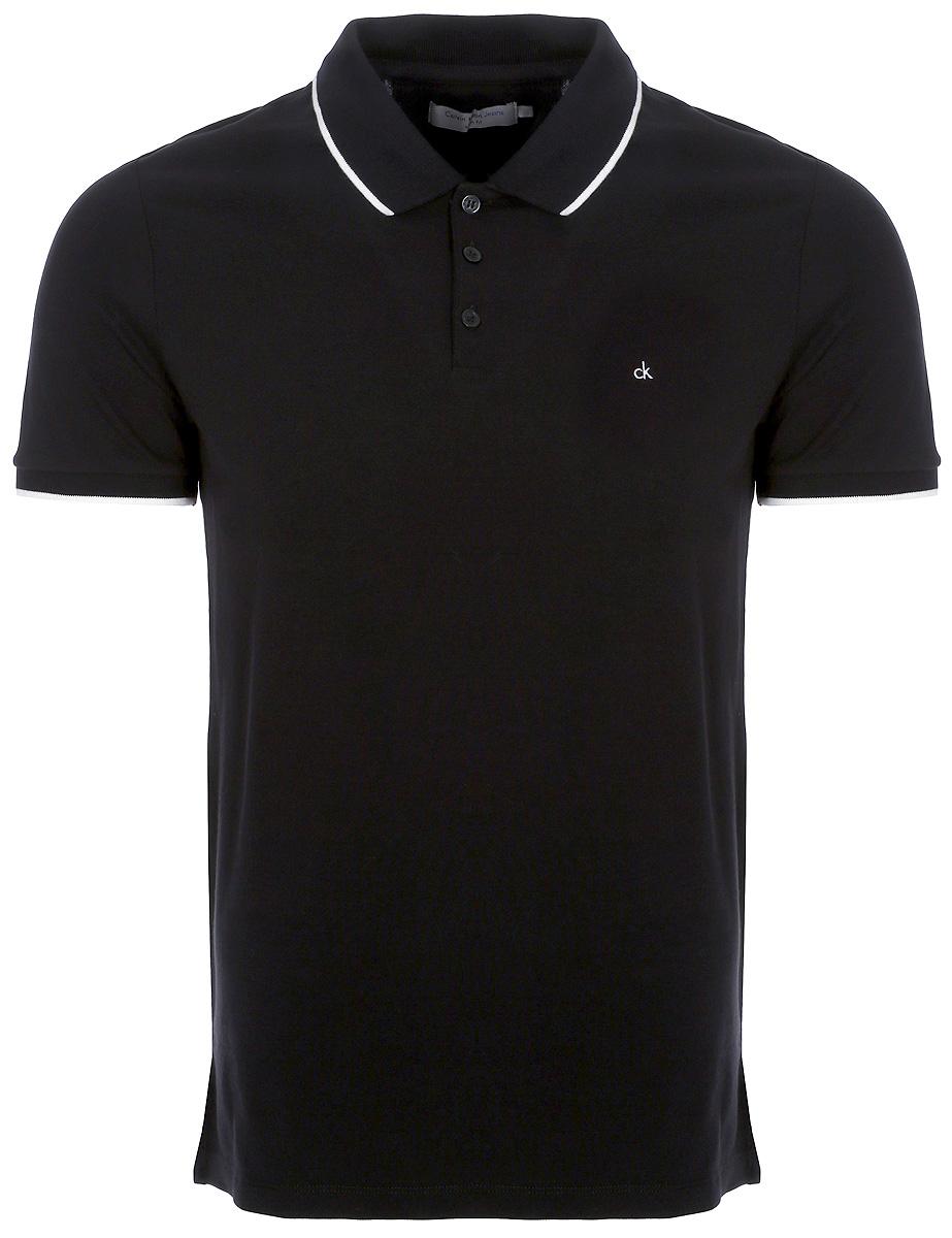 Поло мужское Calvin Klein Jeans, цвет: черный. J30J306396_0990. Размер M (46/48)J30J306396_0990