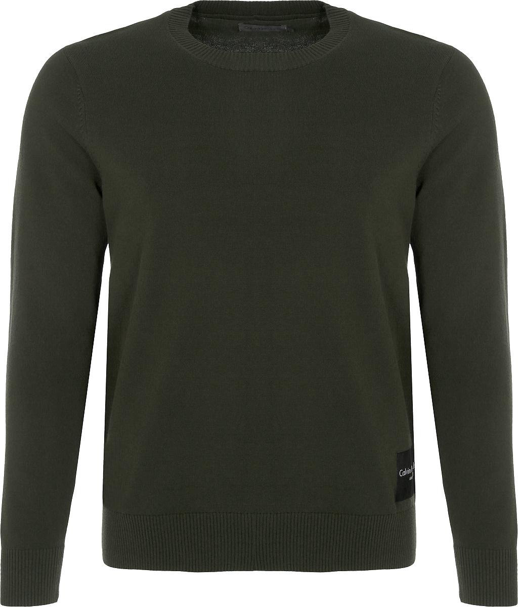 Джемпер мужской Calvin Klein Jeans, цвет: зеленый. J30J307324_3710. Размер M (46/48)J30J307324_3710Джемпер мужской Calvin Klein Jeans выполнен из качественного материала. Моделькруглым вырезом горловины и длинными рукавами.