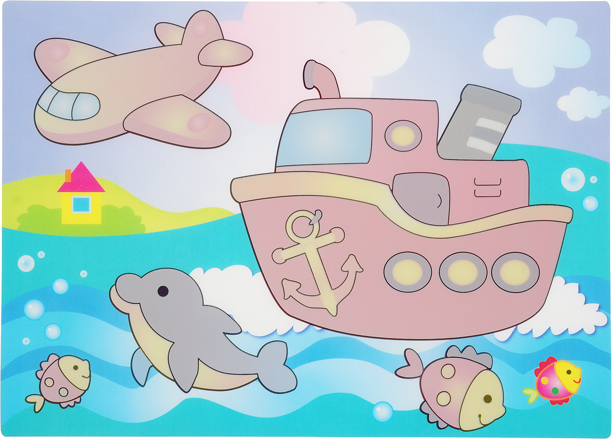Кораблик. Многоразовая водная раскраска песочная картинка кораблик