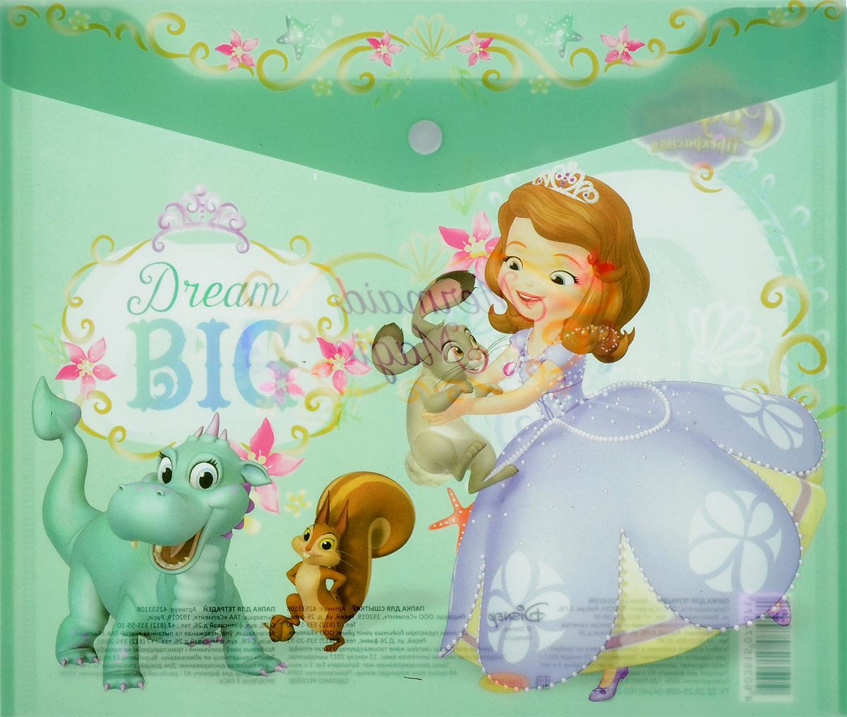 Disney Папка-конверт на кнопке Принцесса Софи формат А5+ 4253310842533108Папка-конверт пластиковая с кнопкой 180 мк под росcийскую тетрадь с дизайном. Формат А5+. Материал - полипропилен. Изготовлена в Санкт-Петербурге. Размер: 25*21см